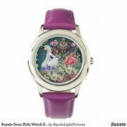 Royale Swan  Kids Watch Purple Designer Art Karen Colville